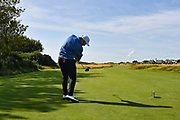 James Sugrue (GB&I) plays from the third tee during the Saturday Singles in the Walker Cup at the Royal Liverpool Golf Club, Saturday, Sept 7, 2019, in Hoylake, United Kingdom. (Steve Flynn/Image of Sport)