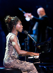 Laura Mvula performing at the Royal Albert Hall in London during a star-studded concert to celebrate the Queen's 92nd birthday.