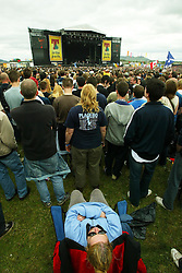 A crowd view of Franz Ferdinand on the main stage area at T in the Park Saturday 8 July 2006, at Balado, Fife...