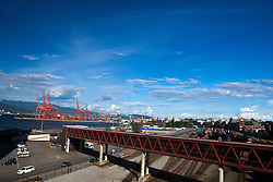 View of shipyards and parking lot, Vancouver, British Columbia, Canada