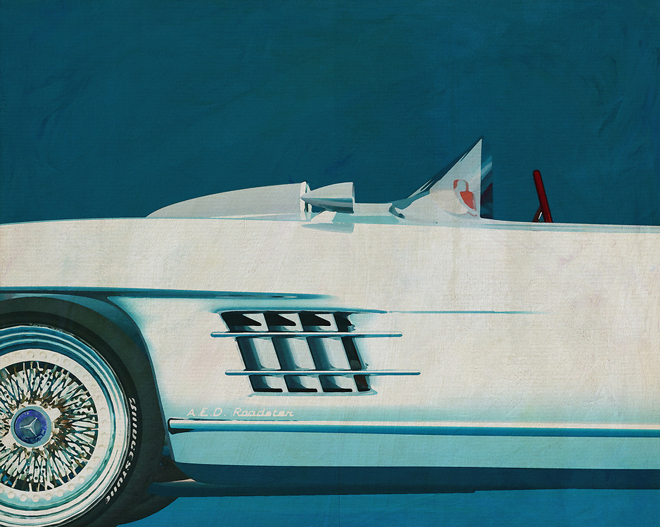 This painting of a detail of the Mercedes 300SL Daytona Roadster is exeptional because it is about a concept that Mercedes made late in the fifties of last century. The car has no doors but is based on the legendary Mercedes 300 SL Gullwing known for its upward turning doors. –<br />