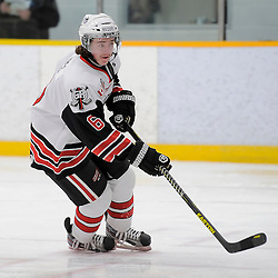 TRENTON, ON - Nov 24 : Ontario Junior Hockey League Game Action between Trenton Golden Hawks and Georgetown Raiders, Mitchell Kreis #6 of the Georgetown Raiders Hockey Club<br /> (Photo by Amy Deroche / OJHL Images)