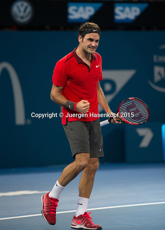 Roger Federer (SUI)<br /> <br /> Tennis - Brisbane International  2015 - ATP -   - Brisbane - QLD - Australia  - 11 January 2015. <br /> &copy; Juergen Hasenkopf