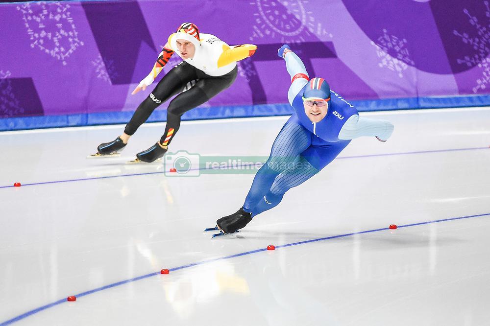 February 23, 2018 - Pyeongchang, Gangwon, South Korea - Mathias Voste of Belgium.and Henrik Fagerli Rukke of Norway competing in 1000 meter speedskating at winter olympics, Gangneung South Korea on February 23, 2018. (Credit Image: © Ulrik Pedersen/NurPhoto via ZUMA Press)