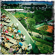Roland Garros. Paris, France. May 27th 2012.Part of the Suzanne Lenglen court and the Philippe Chatrier court in the back..Une partie du court Suzanne Lenglen et le court Philippe Chatrier (le court central) dans le fond...