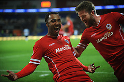 Cardiff City's Nicky Maynard celebrates his goal. - Photo mandatory by-line: Dougie Allward/JMP - Mobile: 07966 386802 19/08/2014 - SPORT - FOOTBALL - Cardiff - Cardiff City Stadium - Cardiff City v Wigan Athletic - Sky Bet Championship