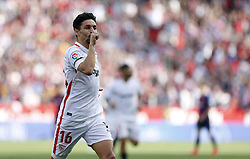 February 23, 2019 - Seville, Madrid, Spain - Jesus Navas (Sevilla FC) seen celebrating after scoring a goal during the La Liga match between Sevilla FC and Futbol Club Barcelona at Estadio Sanchez Pizjuan in Seville, Spain. (Credit Image: © Manu Reino/SOPA Images via ZUMA Wire)