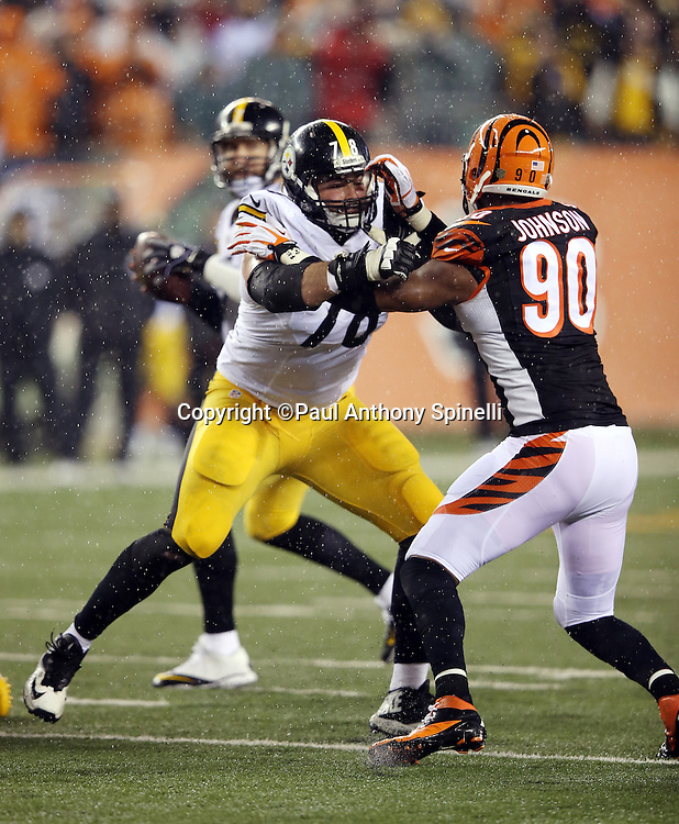 Pittsburgh Steelers tackle Alejandro Villanueva (78) blocks Cincinnati Bengals defensive end Michael Johnson (90) during the NFL AFC Wild Card playoff football game against the Cincinnati Bengals on Saturday, Jan. 9, 2016 in Cincinnati. The Steelers won the game 18-16. (©Paul Anthony Spinelli)