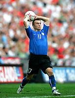 Photo: Tom Dulat.<br /> England v Estonia. UEFA European Championships Qualifying. 13/10/2007.<br /> Enar Jaager of Estonia throwing the ball