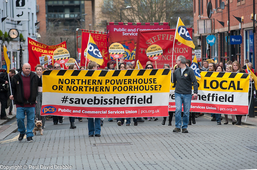 Demonstrators march from  Devonshire Green to the rally held in Barkerspool Sheffield on Saturday 9 April, to protest against the Department for Business, Innovation and Skills (BIS) announcement that it will close BIS Sheffield, its biggest office outside London.<br /> <br />  09 April 2016<br />  Copyright Paul David Drabble<br />  www.pauldaviddrabble.photoshelter.com<br />  www.pauldaviddrabble.co.uk