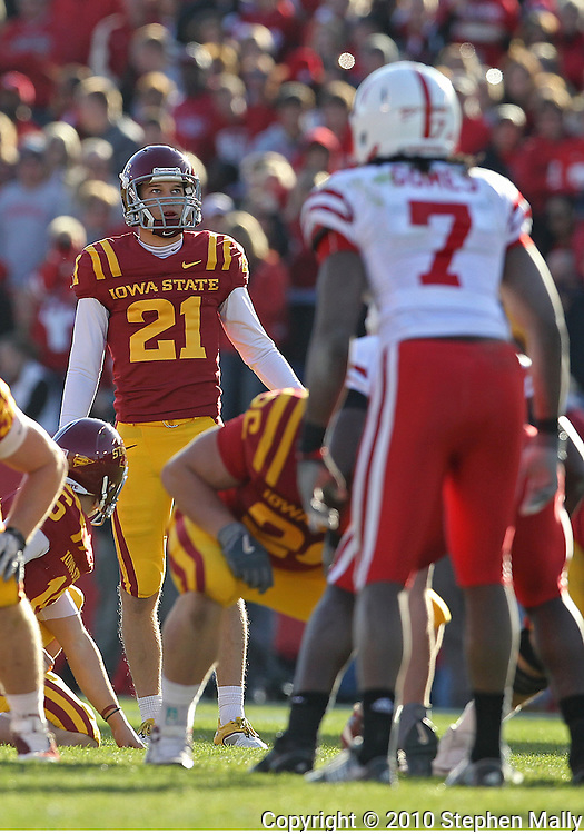 November 06 2010: Iowa State Cyclones kicker Grant Mahoney (21) eyes the goal posts on a 57 yard field goal attempt during the first half of the NCAA football game between the Nebraska Cornhuskers and the Iowa State Cyclones at Jack Trice Stadium in Ames, Iowa on Saturday November 6, 2010. Nebraska defeated Iowa State 31-30.