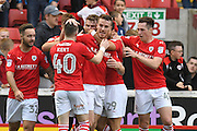 Barnsley FC celebrate goal scored by Barnsley FC midfielder Marley Watkins (15) to go 1-0 up  during the EFL Sky Bet Championship match between Barnsley and Bristol City at Oakwell, Barnsley, England on 29 October 2016. Photo by Ian Lyall.