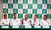 (L-R) Lukasz Kubot & Jerzy Janowicz & Radoslaw Szymanik - captain of Polish team & Mariusz Fyrstenberg & Marcin Matkowski all from Poland while press conference three days before the BNP Paribas Davis Cup 2013 between Poland and South Africa at MOSiR Hall in Zielona Gora on April 02, 2013...Poland, Zielona Gora, April 02, 2013..Picture also available in RAW (NEF) or TIFF format on special request...For editorial use only. Any commercial or promotional use requires permission...Photo by © Adam Nurkiewicz / Mediasport