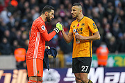 Rui Patricio & Romain Saiss of Wolverhampton Wanderers celebrate the second goal of the game during the Premier League match between Wolverhampton Wanderers and Aston Villa at Molineux, Wolverhampton, England on 10 November 2019.