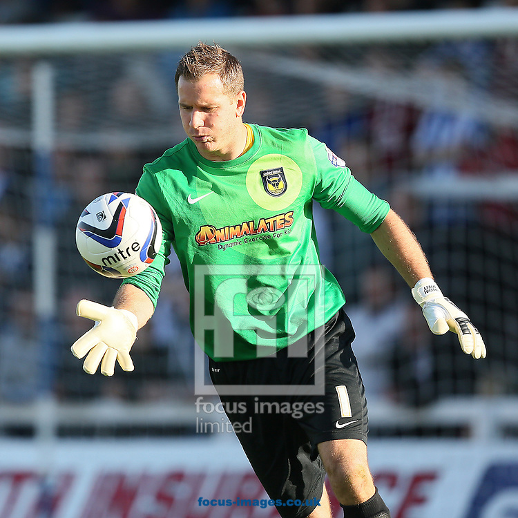 Picture by Paul Gaythorpe/Focus Images Ltd +447771 871632<br /> 28/09/2013<br /> Oxford United goalkeeper Ryan Clarke during the Sky Bet League 2 match against Hartlepool United at Victoria Park, Hartlepool.