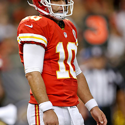 Aug 9, 2013; New Orleans, LA, USA; Kansas City Chiefs quarterback Chase Daniel (10) against the New Orleans Saints during a preseason game at the Mercedes-Benz Superdome. The Saints defeated the Chiefs 17-13. Mandatory Credit: Derick E. Hingle-USA TODAY Sports