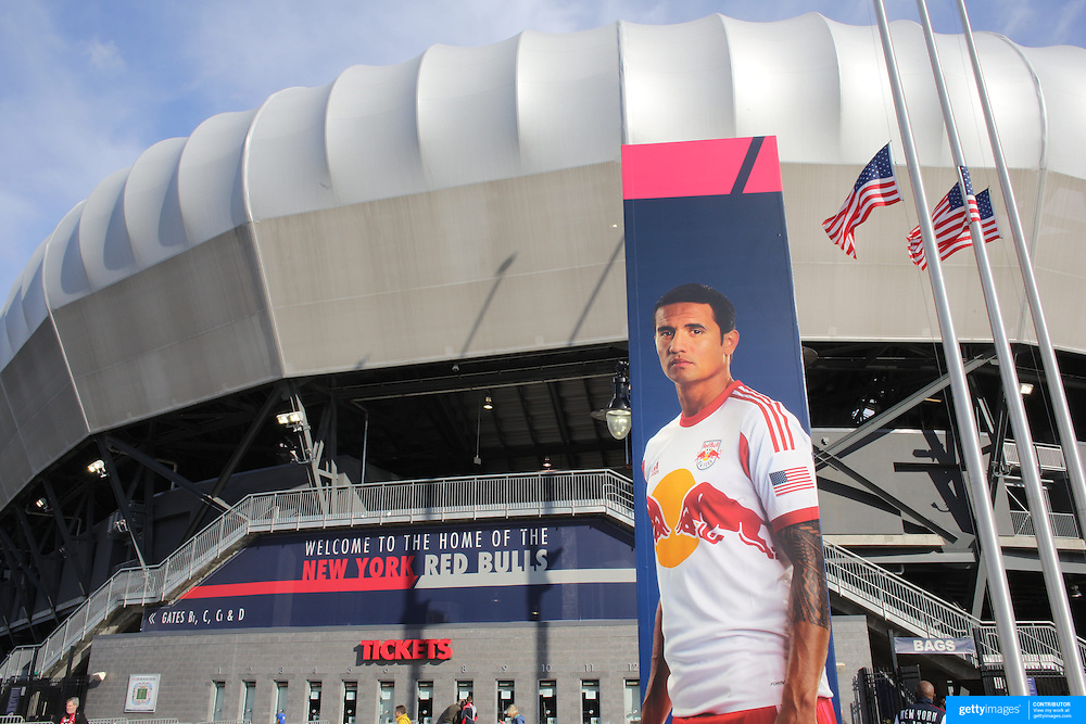 Tim Cahill advertising the New York Red Bulls on a billboard outside Red Bulls Arena before the New York Red Bulls V New England Revolution, Major League Soccer regular season match at Red Bull Arena, Harrison, New Jersey. USA. 20th April 2013. Photo Tim Clayton