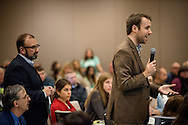 An attendee asks a question to Dr. George Delgado, the medical director of the Abortion Pill Reversal program and the associate medical director of The Elizabeth Hospice, during a question and answer session following his plenary during the 2017 LCMS Life Conference on Saturday, Jan. 28, 2017, in Arlington, Va. LCMS Communications/Erik M. Lunsford