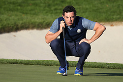 September 30, 2016: Europe's Rory McIlroy studies a putt putt Friday afternoon in the 2016 Ryder Cup at Hazeltine National Golf Club in Chaska, Minnesota. Von Castor/Cal Sport Media(Credit Image: © Von Castor/Cal Sport Media via ZUMA Wire)