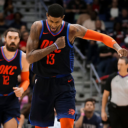 Feb 14, 2019; New Orleans, LA, USA; Oklahoma City Thunder forward Paul George (13) reacts after a three point basket against the New Orleans Pelicans during the fourth quarter at the Smoothie King Center. Mandatory Credit: Derick E. Hingle-USA TODAY Sports