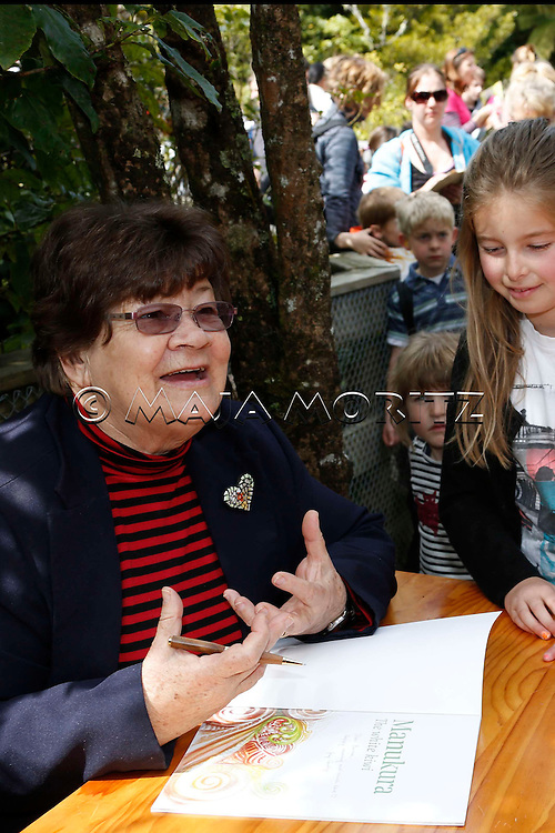 "Joy Cowley during a public reading event for children and launch of her new book ""Manukura, The White Kiwi"", Pukaha Mount Bruce Wildlife Park, New Zealand"