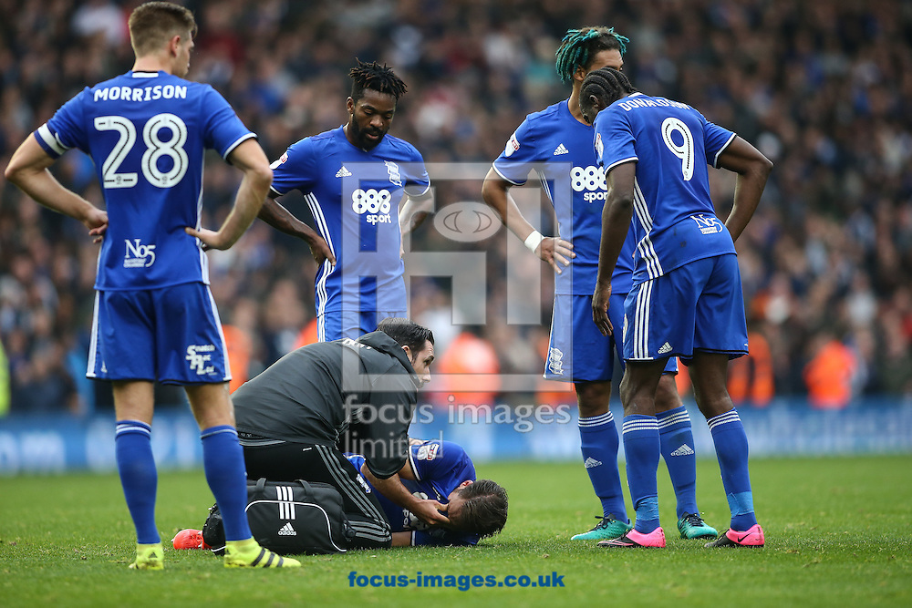 Rhoys Wiggins of Birmingham City (centre) lies injured during the Sky Bet Championship match at St Andrews, Birmingham<br /> Picture by Andy Kearns/Focus Images Ltd 0781 864 4264<br /> 30/10/2016