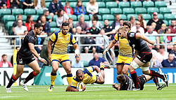 Cooper Vuna  of Worcester Warriors is tackled - Mandatory by-line: Robbie Stephenson/JMP - 03/09/2016 - RUGBY - Twickenham - London, England - Saracens v Worcester Warriors - Aviva Premiership London Double Header