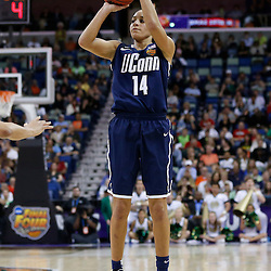 April 7, 2013; New Orleans, LA, USA; Connecticut Huskies guard Bria Hartley (14) shoots against the Notre Dame Fighting Irish during the second half in the semifinals during the 2013 NCAA womens Final Four at the New Orleans Arena. Mandatory Credit: Derick E. Hingle-USA TODAY Sports