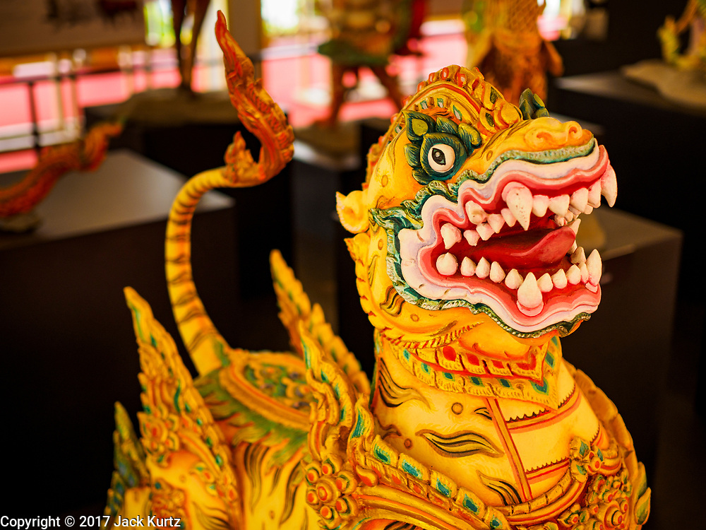 """13 DECEMBER 2017 - BANGKOK, THAILAND: Statue of a """"Bandhurajasiha"""" at the Royal Crematorium on Sanam Luang in Bangkok. The crematorium was used for the funeral of Bhumibol Adulyadej, the Late King of Thailand. He was cremated on 26 October 2017. The crematorium is open to visitors until 31 December 2017. It will be torn down early in 2018. More than 3 million people have visited the crematorium since it opened to the public after the cremation of the King.    PHOTO BY JACK KURTZ"""