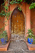 Moroccan Doorway with Flower Pots, Morocco