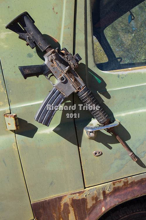 An AR 15 found in the desert. A smuggler's weapon.
