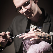 02/12/12 West Chester PA: RICHARD NICHOLAS studios Hairstylist Juaquin Camron working on a unknown model hair during Open Chair 11 Sunday, Feb. 12, 2012 at The Note in West Chester Pennsylvania...Special to Monsterphoto/SAQUAN STIMPSON