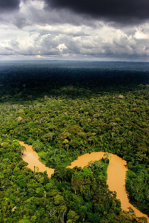 Cononaco River leading into Yasuni, rich rainforests home of the Waorani.