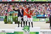 Podium Individual Jumping 1. Jeroen Dubbeldam - Zenith SFN, 2. Patrice Delaveau - Orient Express HDC, 3. Beezie Madden - Cortes C<br /> Alltech FEI World Equestrian Games™ 2014 - Normandy, France.<br /> © DigiShots
