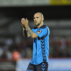 TELFORD COPYRIGHT MIKE SHERIDAN 7/8/2018 - Adam Dawson applaud the supporters after the National League North fixture between Kidderminster Harriers FC vs AFC Telford United.