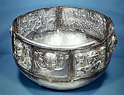 Gundestrup Cauldron (bowl), Celtic ritual vessel of 2nd century BC. Inside on right is Cernunnos, King of the animals.  Silver partially gilded. Danish National Museum, Copenhagen.