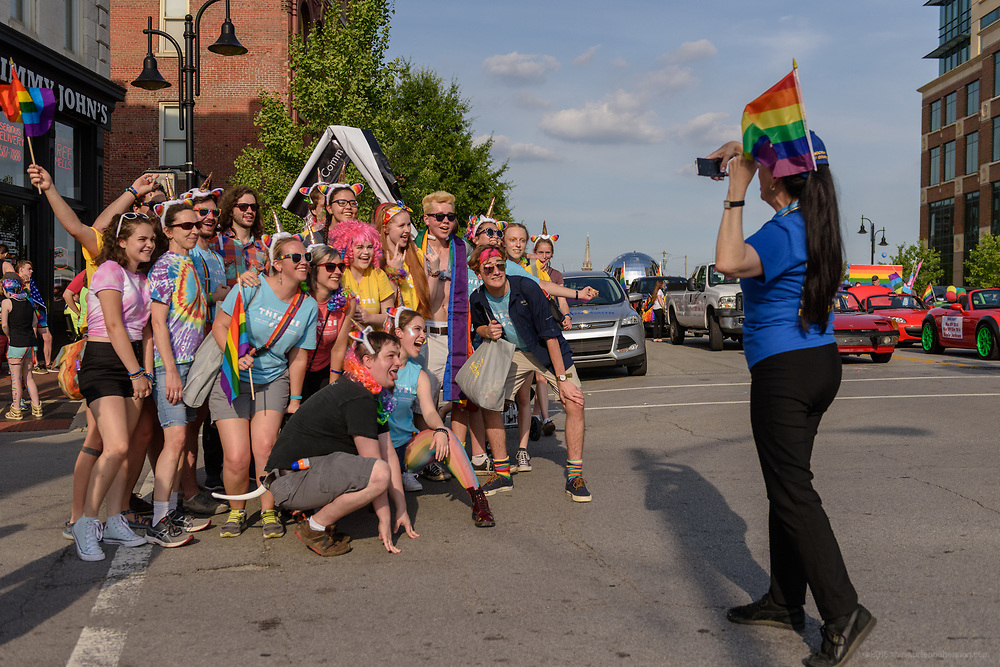 A group photo before the prade on Market Street.<br /> The Lesbian, Gay, Bisexual, Transgender, and Queer (LGBTQ) community and their friends, family and supporters walked and lined Main Street from Floyd Street to the Belvedere for the Kentuckiana Pride Parade, Saturday, June 16, 2017 in Louisville, Ky. (Photo by Brian Bohannon)