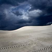 Car tracks in a desert. Lancelin dunes in Australia.