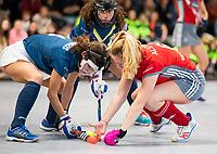 HAMBURG  (Ger) - Match 19,  for bronze , Der Club an der Alster (Ger) - Club Campo de Madrid (Esp)  Photo: Sara Barrios (Madrid) with Hanna Valentin (Alster) . Eurohockey Indoor  Club Cup 2019 Women . WORLDSPORTPICS COPYRIGHT  KOEN SUYK