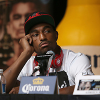 Boxer J'Leon Love watches during the undercard final press conference for the Mayweather & Maidana boxing match at the Hollywood Theater, inside the MGM Grand hotel on Thursday, May 1, 2014 in Las Vegas, Nevada.  (AP Photo/Alex Menendez)