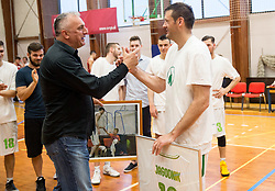 Sasa Doncic and Goran Jagodnik  at Jagodnik's end of a career after basketball match between KD Ilirija and KK Mesarija Prunk Sezana in Last Round of 2. SKL  2016/17, on April 15, 2017 in GIB center, Ljubljana, Slovenia. Photo by Vid Ponikvar / Sportida