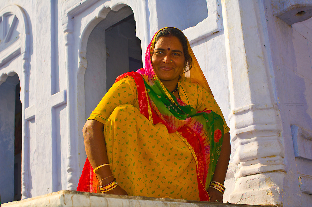 Woman outside a house, Osian, Rajasthan, India