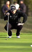 19/10/2003 - Photo  Peter Spurrier.2003 HSBC World Match Play Championship - Wentworth.Sunday - Final Day- Ernie Els v Thomas Bjorn:.Thomas Bjorn, checks the ball alinement. ......[Mandatory Credit Peter Spurrier/ Intersport Images]