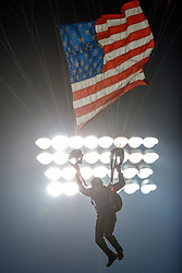 PALO ALTO, CA - NOVEMBER 10:  A member of the United States Army Golden Knights parachute team jumps into Stanford Stadium with an American flag before the game between the Stanford Cardinal and the Oregon State Beavers on November 10, 2018 in Palo Alto, California. (Photo by Jason O. Watson/Getty Images) *** Local Caption ***