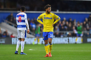 Tyler Roberts (11 of Leeds United during the The FA Cup 3rd round match between Queens Park Rangers and Leeds United at the Loftus Road Stadium, London, England on 6 January 2019.