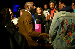 After the Players Coalition Town Hall Malcolm Jenkins steps off stage to engage in conversation with members of the audience who felt some questions were left unanswered during the panel discussion about policing, in Philadelphia, PA, on October 28 2019.