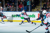KELOWNA, CANADA - DECEMBER 30: Marek Skvrne #9 of the Kelowna Rockets takes a slap shot from the point against the Victoria Royals on December 30, 2017 at Prospera Place in Kelowna, British Columbia, Canada.  (Photo by Marissa Baecker/Shoot the Breeze)  *** Local Caption ***
