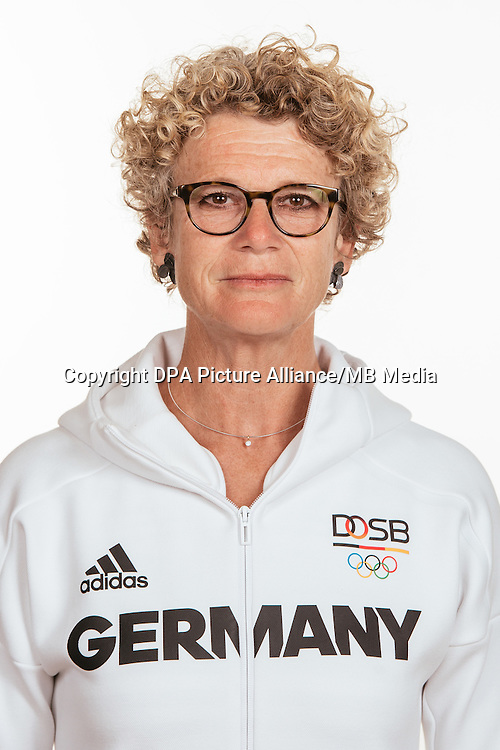 Brigitte Kurschilgen poses at a photocall during the preparations for the Olympic Games in Rio at the Emmich Cambrai Barracks in Hanover, Germany, taken on 19/07/16 | usage worldwide