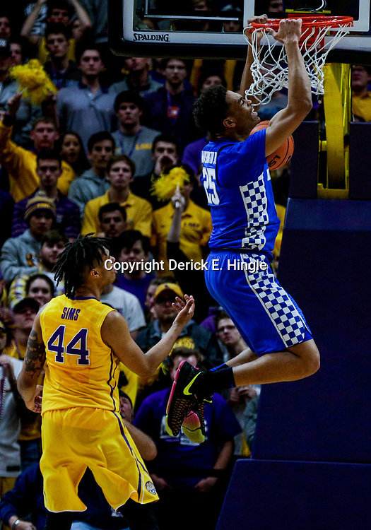 Jan 3, 2018; Baton Rouge, LA, USA; Kentucky Wildcats forward PJ Washington (25) dunks over LSU Tigers forward Wayde Sims (44) during the second half at the Pete Maravich Assembly Center. Kentucky defeated LSU 74-71.  Mandatory Credit: Derick E. Hingle-USA TODAY Sports