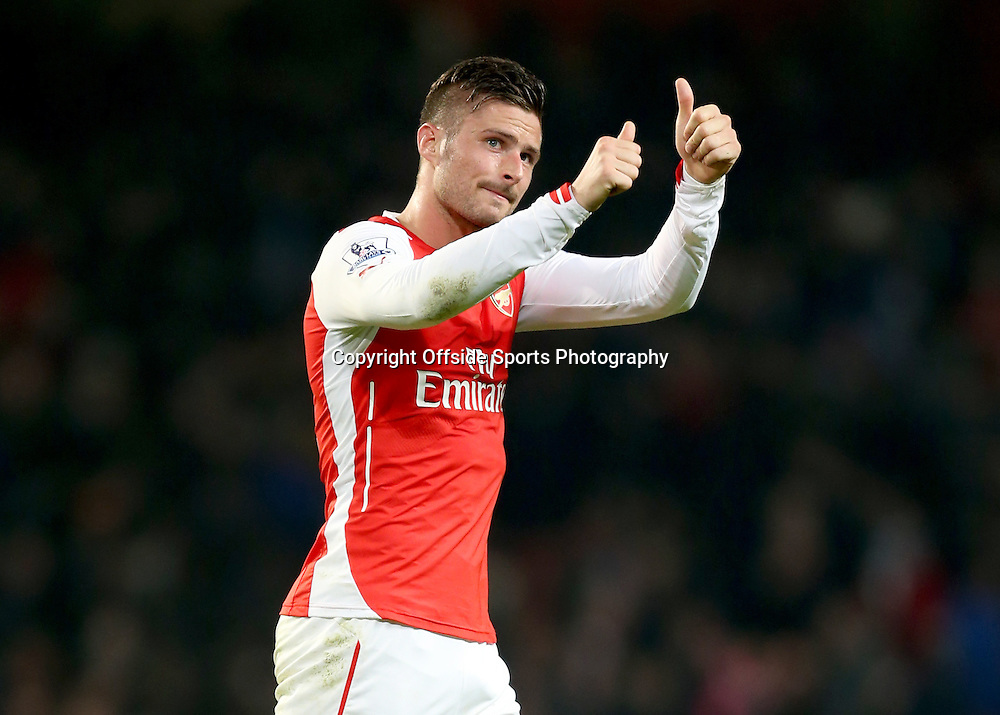 22 November 2014 - Barclays Premier League - Arsenal v Manchester United - Olivier Giroud of Arsenal gives a thumbs up - Photo: Marc Atkins / Offside.